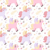 Unicorns seamless vector pattern (pastel colors) Stock Photography