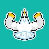 Unicorns sport logo. Magic horse Sports team club emblem. Animal mascot gaming sign. Unicorn Strong beast symbol.  stock illustration