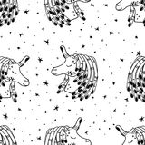 Unicorns with star and hair nails pattern vector. Hand Drawn Black and White Simple Tattoo Doodle unicorn pattern in Kids Style. Surreal Background Vector for Royalty Free Stock Photography