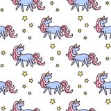 Unicorns and stars seamless vector pattern. Royalty Free Stock Photography
