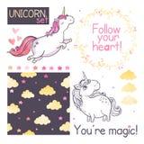 unicorns vektor för set för tecknad filmhjärtor polar vektor illustrationer