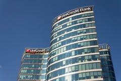 UniCredit小组在总部修造的银行公司商标 库存照片