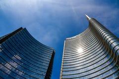 Unicredit bankhögkvarter i Milan, Italien Arkivfoto