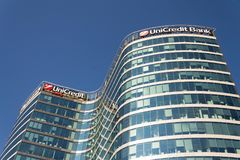 UniCredit Group banking company logo on headquarters building Royalty Free Stock Image