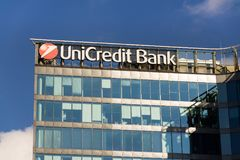 UniCredit Group banking company logo on headquarters building Royalty Free Stock Images