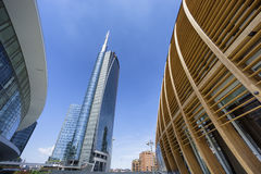 Unicredit skyscraper and commercial buildings in Milan Stock Photos