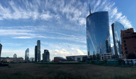 Unicredit torn, piazza Gael Aulenti, Milan, Italien 15/04/2016 Arkivbild