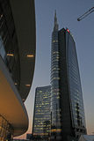 Unicredit tower at evening Royalty Free Stock Photography