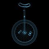 Unicycle (τρισδιάστατος των ακτίνων X μπλε διαφανής) διανυσματική απεικόνιση