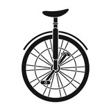 Unicycle for the circus. Bicycle with one wheel for performances.Different Bicycle single icon in black style vector Stock Image