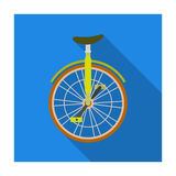 Unicycle for the circus. Bicycle with one wheel for performances.Different Bicycle single icon in flat style vector Stock Images