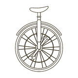 Unicycle for the circus. Bicycle with one wheel for performances.Different Bicycle single icon in outline style vector Stock Image