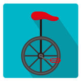 Unicycle circus icon for flat style with long shadows,  on white background. Vector illustration. Royalty Free Stock Photography