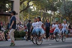 Unicycle dziewczyny Zdjęcia Royalty Free