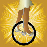 Unicycle On Golden Splash Stock Photos