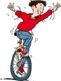 Unicycle man. Happy young man on a unicycle Stock Photography