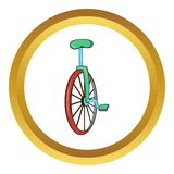 Unicycle or one wheel bicycle vector icon Stock Photos