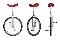 Unicycle views isolated on white 3d rendering Royalty Free Stock Image
