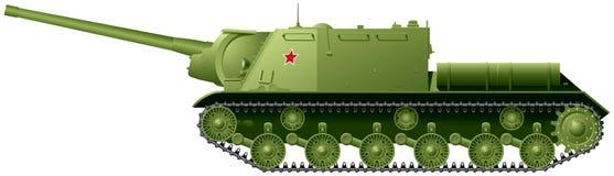 Unidad de artillería automotora del destructor del tanque ISU-122 basada en el tanque pesado IS-2 ilustración del vector