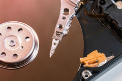 Unidad de disco duro del ordenador dentro del primer Foto de archivo libre de regalías