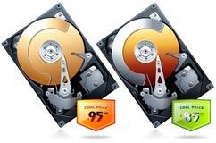 Unidad de disco duro HDD con vector de la insignia del precio Imagen de archivo