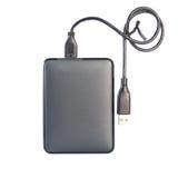 Unidad de disco duro portátil del externo HDD con el cable del USB en los vagos blancos Fotografía de archivo