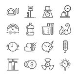 Unidad de medida el sistema del icono Incluyó los iconos como millas, el metro, la tonelada, el kilogramo, el decibelio, los grad ilustración del vector