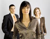 Unidad de negocio con el arranque de cinta femenino Foto de archivo libre de regalías