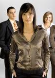 Unidad de negocio con el arranque de cinta femenino imagen de archivo libre de regalías