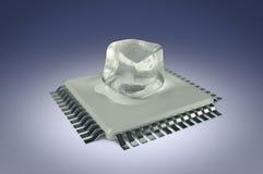 Unidad del procesador del ordenador con los dados del hielo en fondo azul Fotos de archivo