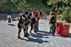 Unidad policial especial en el entrenamiento Fotografía de archivo libre de regalías