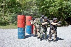 Unidad policial especial en el entrenamiento Imagen de archivo libre de regalías