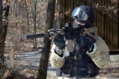 Unidad policial especial, policía enmascarada Fotografía de archivo libre de regalías