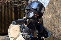 Unidad policial especial, policía enmascarada Fotos de archivo libres de regalías