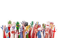 Unidade étnica Conce da afiliação étnica da diversidade diversa do símbolo da bandeira das mãos Fotografia de Stock