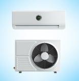 A unidade de condicionamento de ar 3d rende no fundo azul Fotos de Stock Royalty Free