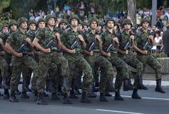 Unidade sérvio da bandeira nacional em march-1 Fotografia de Stock Royalty Free