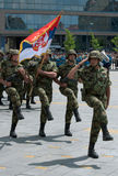 Unidade sérvio da bandeira do exército Imagens de Stock Royalty Free