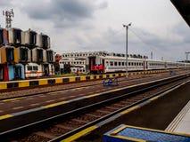 Unidentifed ludzie Widok budowa stacja kolejowa fotografia royalty free