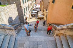 Unidentifed tourists visiting old town of Dubrovnik, Dubrovnik is a UNESCO World Heritage site Stock Photography