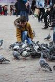 Unidentifiable dziecko w Dam Square w Amsterdam oblegał gołębiami na zima dniu zdjęcia stock