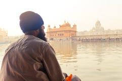 Unidentifiable mieszkanów pendżabu dewotki Sikhijski pielgrzymi obsiadanie świętym basenem i medytować przed Złotą świątynią zdjęcia royalty free