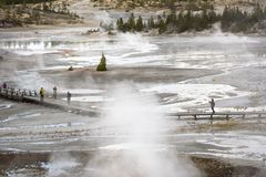 Unidentifiable tourists enjoying vacation on Norris Geyser Basin at Yellowstone National Park Stock Photo