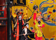 Unidentified actors of the Beijing Opera Troupe. BEIJING - NOVEMBER 16: Unidentified actors of the Beijing Opera Troupe perform the famous story Journey to the royalty free stock image