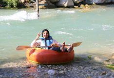 Unidentified Arab Tourist ready for tubing at Saklikent Canyon royalty free stock photo