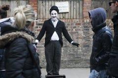 An unidentified artist looks like Charlie Chaplin Stock Photo