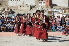 Unidentified artists in Ladakhi costumes Royalty Free Stock Photos