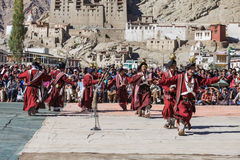 Unidentified artists in Ladakhi costumes Stock Image