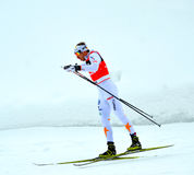 Unidentified athlete competes in the FIS Cross-Country  World Cup Royalty Free Stock Photography