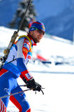 Unidentified athlete competes in IBU Regional Cup in Sochi. SOCHI, RUSSIA - FEBRUARY 9: Unidentified athlete competes in IBU Regional Cup in Sochi on February 9 stock photography